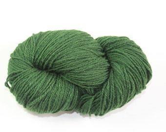 100% Wool yarn, 3 ply, Green, skein 100g