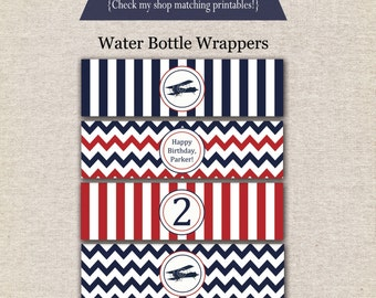 Airplane Water Bottle Labels - red and navy | Airplane Water Bottle Wrappers | Airplane Drink Labels | Airplane Party Printables