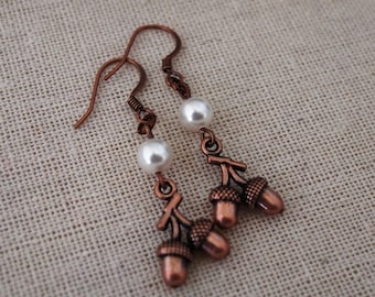 Copper and Pearl Acorn Earrings