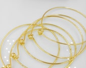 Ball screwed off-Wholesale-50 pcs fabulous gold plating over raw solid brass  basic bangles wired bracelet findings-F1272-end has a ball