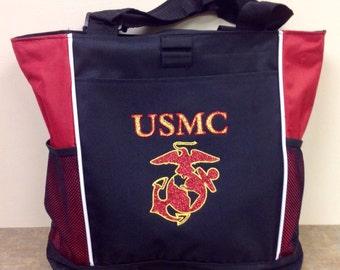Glitter Appliquéd Tote Bag with USMC Design