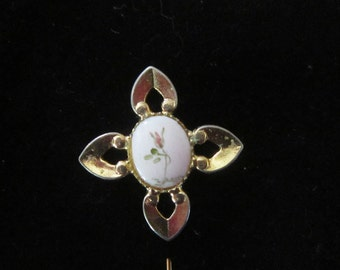 Vintage Porcelain Stick Pin - BR-562 - Flower Stick Pin - Hand Painted Porcelain Stick Pin