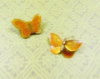 Vintage Holograph Enamel Orange Butterfly Brooch & Orange Guilloche Butterfly Brooch - BUT-140- Butterfly Lot-Holographic Butterfly