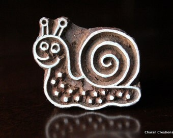 Pottery Stamps, Indian Wood Stamp, Textile Stamp, Wood Blocks, Tjaps, Printing Stamp- Cute Snail