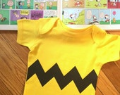 Charlie Brown Bodysuit with Zig Zag Motif Chevron Style Zig Zag Printed on Front size only