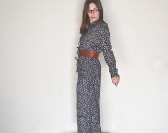 Floral Print Jumpsuit Early 90s Vintage Black Long Sleeve One Piece Wide Leg Romper Large