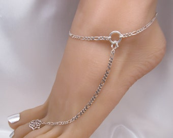 2 Heavy Sterling Silver Adjustable Anklets, Barefoot Jewelry and Toe Ring, Ankle Bracelets, Plain Simple Anklet also in Gold Filled