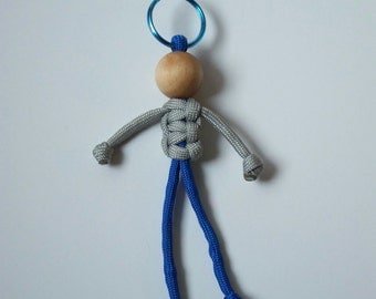 Stocking Stuffer, 550 Paracord Person, Grey and Royal Blue, Geocaching Swag, Fun Key Fob