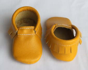 Mustard Yellow Golden Rod Genuine Real Leather Moccasins, Moccs, Shoes