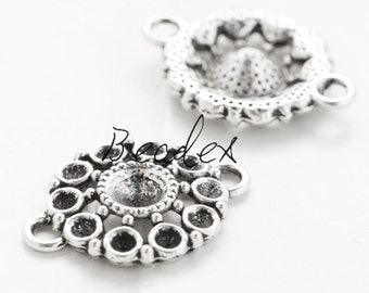 6 Pieces / Rhinestone Settings / Oxidized Silver / Base Metal / Charm / 21mm (YA12840//S42)