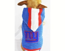 New York GIANTS Football Jersey Dog Hoodie AFL American Football Pet Costumes Puppy Clothes Chihuahua Cats Handmade DK977 - Free Shipping
