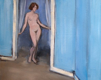 Nude Entering Room - Original Oil Painting - Female Figure Study - Figurative - Oil on Canvas 16 x 20 inches