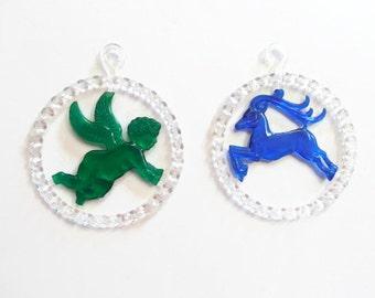 Set of 2 Rare Colored Plastic Christmas Ornaments