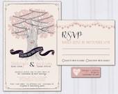 String Light Wedding Invitations, Tree Wedding Invites, Navy Blue and Blush Pink Wedding Invitation, Discount Wedding, SAMPLE