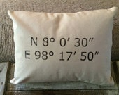 Map Coordinate Pillow with Insert - Unbleached Canvas