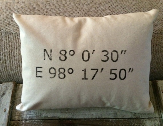 Map Coordinate Pillow Cover - Unbleached Canvas
