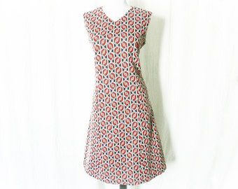 Vintage 60s Mod Chain Pattern Dress M Red White Navy Sleeveless