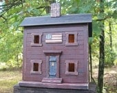 Primitive Lighted Americana Saltbox Folk Art worn burgundy  w/ black roof ~ Handpainted Flag ~ Comes w/ light and cord ~  Very unique!