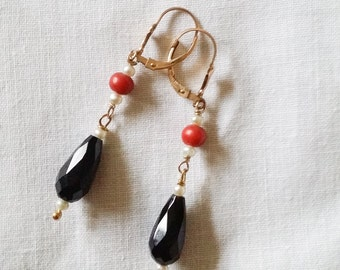 Handmade Jet, Pearl and Coral Gold Earrings
