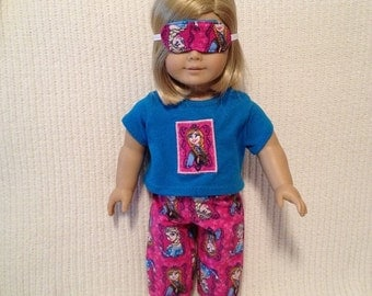 18 inch doll (modeled by American Girl) Frozen 3 piece pajama set