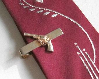 Vintage Pistol Handgun Tie Tack / Mens Tietack Jewelry Accessory