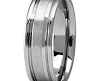 Palladium 500 personalized Wedding Band, Your  Fingerprint engraved Band  7mm  PDS074