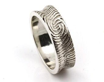 Concave Fingerprint Ring - Sterling Silver custom Engraving Wedding Band - non blackened,6mm, finger print