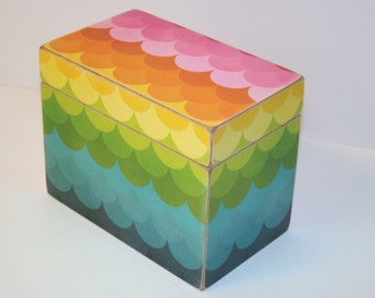 Rainbow Recipe Box, Multicolor Recipe Box, 4x6 Wood Recipe Box, Scalloped Recipe Box, Keepsake Box, Recipe Organizer