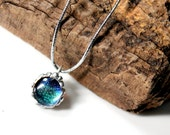 Blue Damselfly Necklace, Real Insect Jewelry, Sparkly Blue