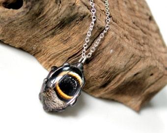 Owl Butterfly Oval Pendant, Owl Butterfly Necklace, Eye Spot Necklace, Domed Oval, Bubble Butterfly