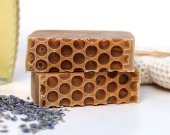 Lavender & Honey Cold Processed Soap, made with organic oils and raw honey, Shea Butter