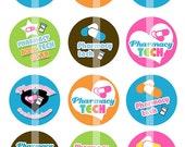 921 PHARMACY tech technician medication pills medicine set of 15 1 1/2 1.50 1.5 inch magnet button badge pin back pinback flat back flatback