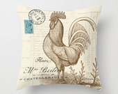 Throw Pillow Cover - Typography and Rooster on Vintage Ephemera - 16x16, 18x18, 20x20 - Pillow case Original Design Home Décor by Adidit