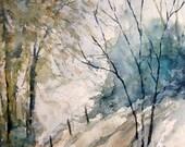 Woods Landscape, Print of Original Watercolor Painting, watercolor art,  watercolor print, country scene, woodland art, watercolor landscape