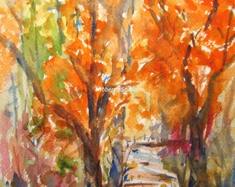 Autumn Walk, Print of Original Watercolor Painting, watercolor art, tree art, autumn landscape, fall trees, autumn watercolor print.
