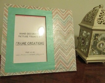 4x6 Stripe Themed - Hand Decorated Picture Frame