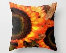 Sunflower Pillow Cover, Bright Orange Yellow Pillow, Autumn Sunflower Throw Pillow, Living Room Decor, Sunflower Bedding Flower Photo Pillow