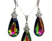 Swarovski Jewelry Set, Crystal Bridal Earrings, Watermelon Necklace, Kaleidoscope Jewelry, Rainbow Bridesmaids Gift, ARIA