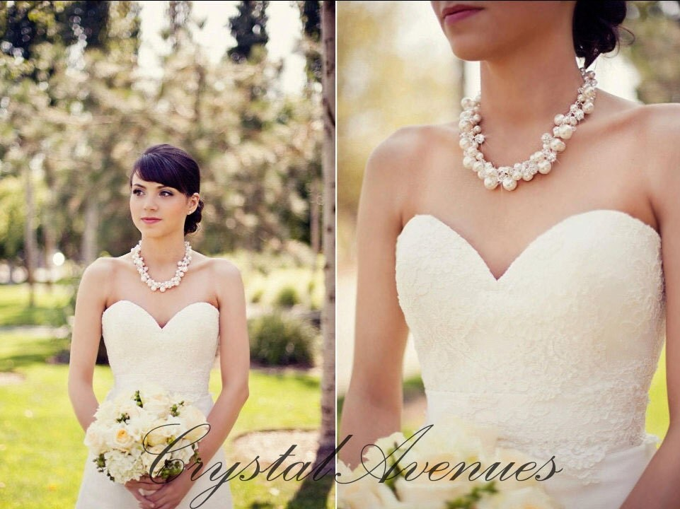 Pearl bridal Necklace chunky wedding necklace Swarovski pearl Crystal wedding necklace Wedding Jewelry rhinestone, Lillian