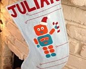 CYBER MONDAY SALE-Robot Christmas Stocking, with Candy Cane Personalized