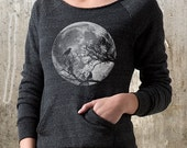 Moon and Ravens - Women's Sweatshirt with Off The Shoulder Neckline - Women's Small Through XL Available