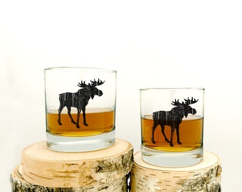 Rustic Moose Whiskey Glasses - Set of Two Small Tumbler Glasses - 11oz.