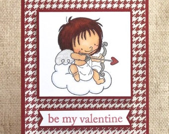 Valentine's Day Card, Be My Valentine, Cupid Card, Handmade Valentine's Card