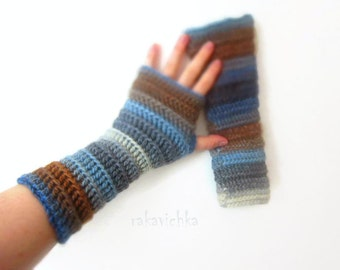 Wool Fingerless Mittens Multicolor Wrist Warmers Gloves Grey Blue Brown Crochet Handknit Winter Accessory Christmas Gift by dodofit on Etsy