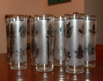 Vintage Set of 7 Midcentury Libbey Silver Leaf Tall Glasses Drinking Bar Cooler 1960s