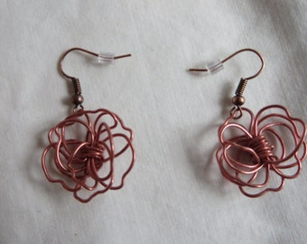 Copper-colored Wire Wrapped Flower Earrings