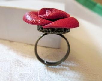 Leather flower ring -Red rose ring -Flower  Ring - leather rose ring - Red Rose jewelry-Wedding 3rd Anniversary Gift