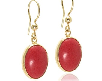 LARGE RED CORAL Earrings Gold Vermeil 18k Modern Dangle earrings , Red and Gold Jewelry