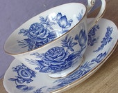 Antique blue roses tea cup and saucer, Royal Chelsea tea cup, English tea cup, blue and white bone china tea cup, antique teacup