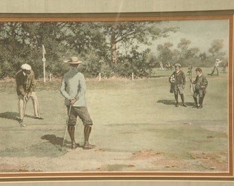 Vintage Gift for golfer, A. B. Frost golf art print of antique painting framed, Sports art, gift for grandfather, sports bar decor